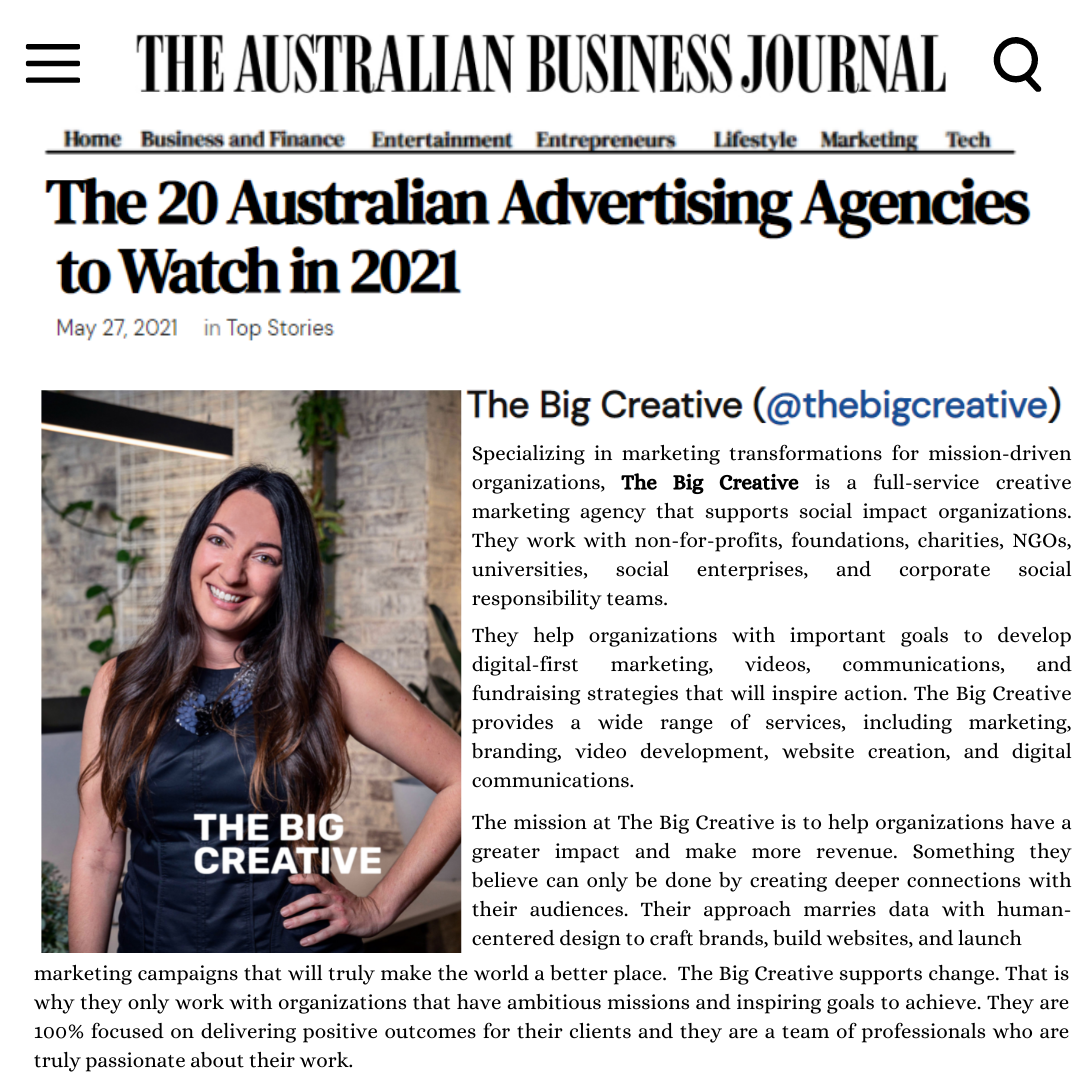The Big Creative - Named Top Agency to Watch Mission Marketing Sydney